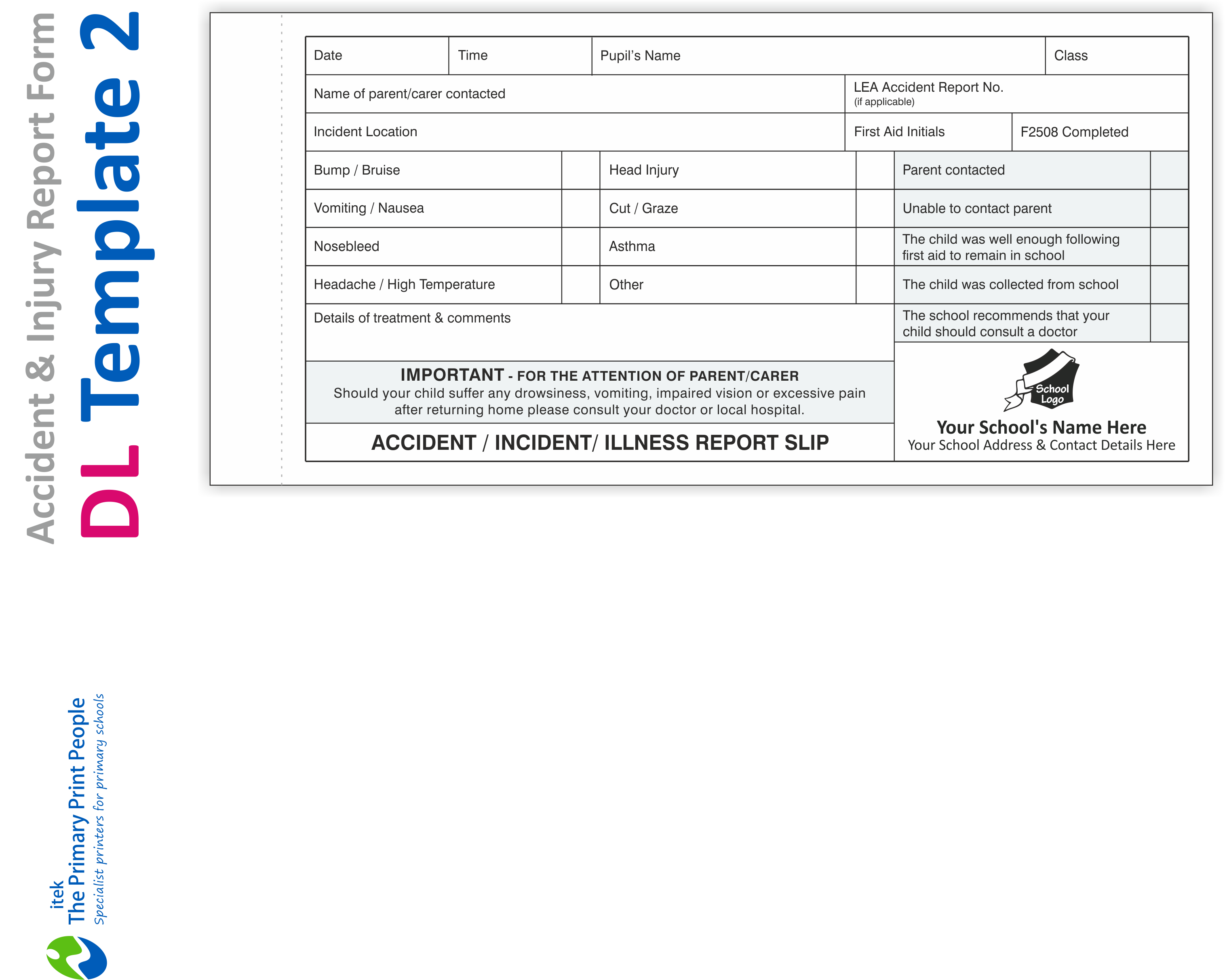 Accident and Injury Form DL Template 2 on