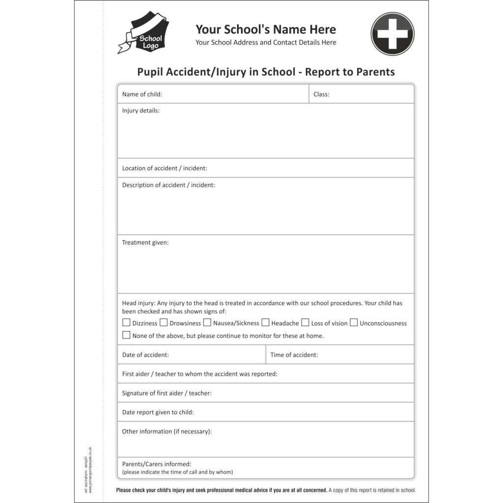 Accident & Injury A5 Template 1 - Pupil accident and injury report form books for schools