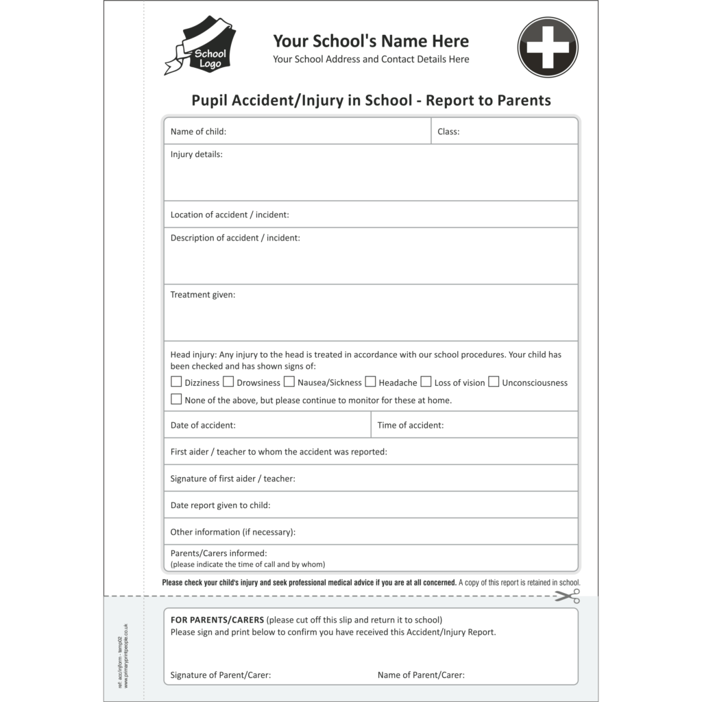 Accident & Injury A5 Template 2 - Pupil accident and injury report form books for schools