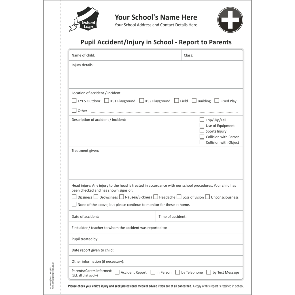 Accident & Injury A5 Template 3 - Pupil accident and injury report form books for schools