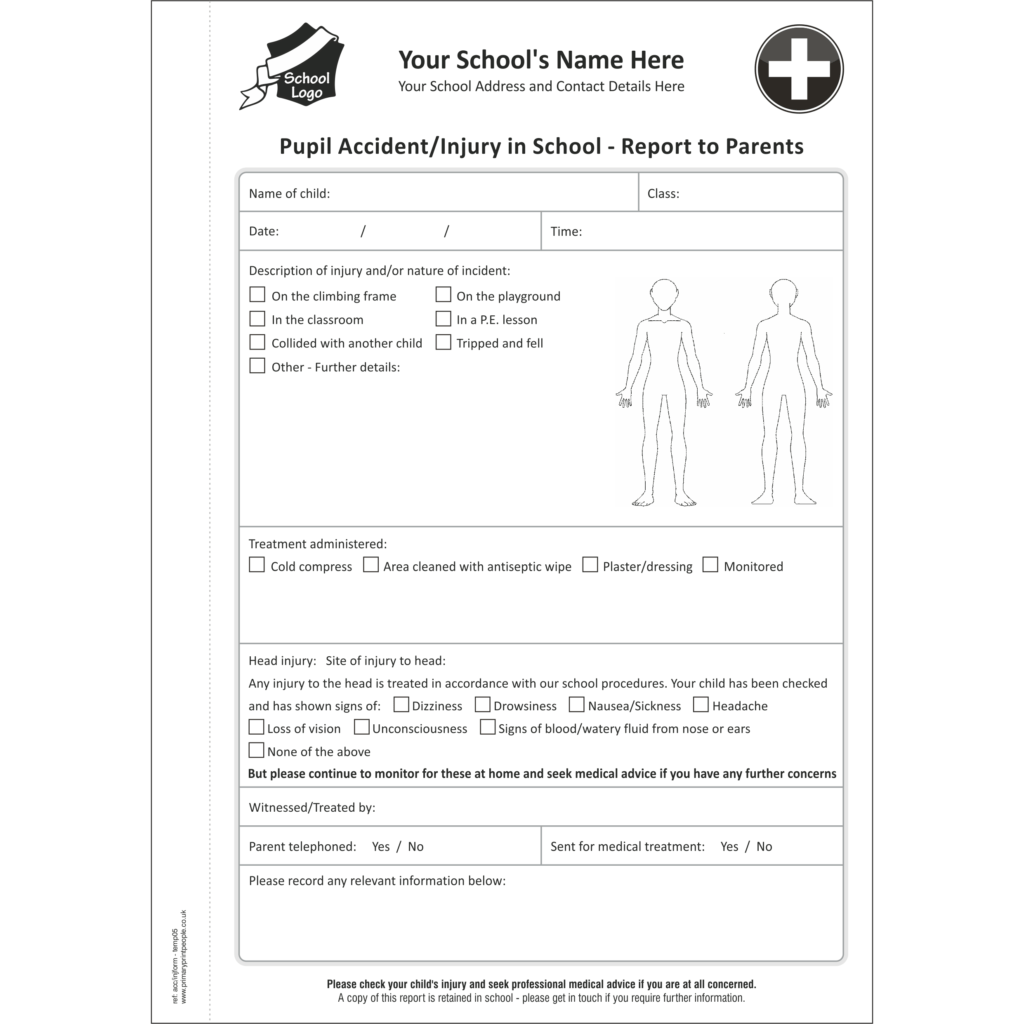 Accident & Injury A5 Template 5 - Pupil accident and injury report form books for schools