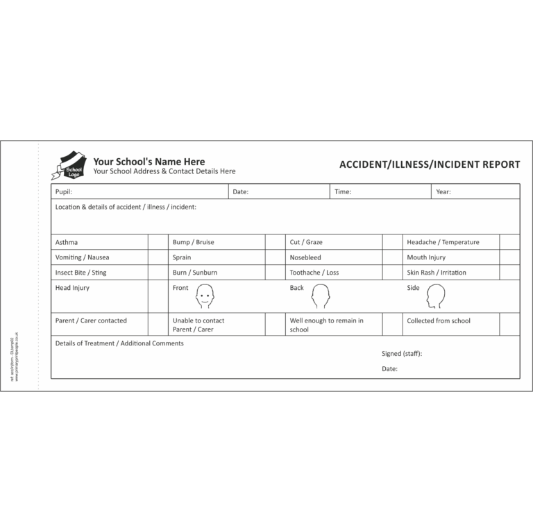 Accident & Injury DL Template 2 - Pupil accident and injury report form books for schools