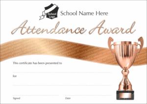 Bronze Attendance Award Certificate - School Reward Certificates