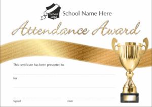 Gold Attendance Award Certificate - School Reward Certificates