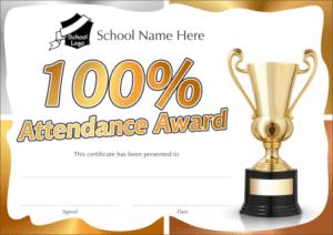 100% Attendance Award Certificate - School Reward Certificates