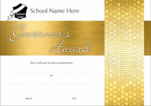 Gold Govenor's Award Certificate - School Reward Certificates