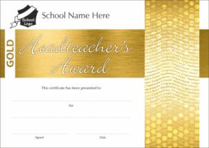 Gold Headteacher's Award Certificate - School Reward Certificates