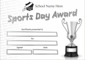 Silver Sports Day Award Certificate - School Reward Certificates