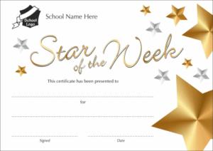 Star of the week metallic effect certificate - School Reward Certificates