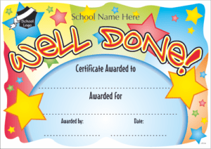Well Done Certificate - School Reward Certificates
