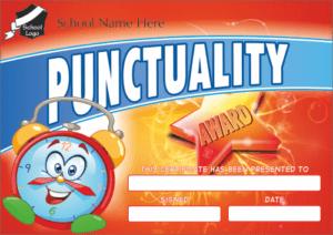 Punctuality Certificate - School Reward Certificates