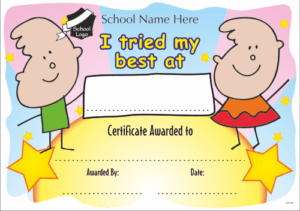 I Tried My Best Certificate - School Reward Certificates