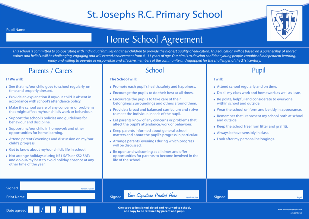 Home School Agreement Form Contemporary Template