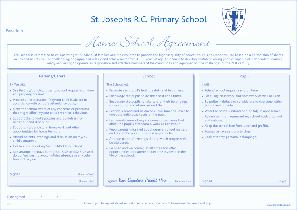 Home School Agreement Form Traditional Template