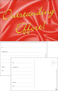 Outstanding Effort Classic Praise Postcard - Praise & Reward Postcards for Schools