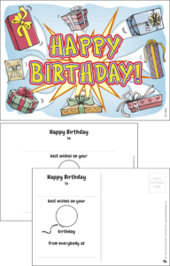 Happy Birthday Presents Praise Postcard - Praise & Reward Postcards for Schools