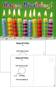 Happy Birthday Candles Praise Postcard - Praise & Reward Postcards for Schools
