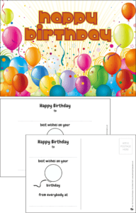 Happy Birthday Balloons Praise Postcard - Praise & Reward Postcards for Schools