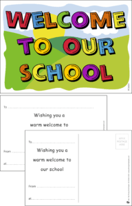 Welcome To Our School Letters Praise Postcard - Praise & Reward Postcards for Schools