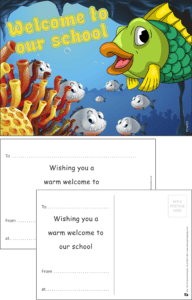 Welcome To Our School Fish Praise Postcard - Praise & Reward Postcards for Schools