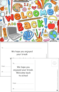 Welcome Back Equipment Praise Postcard - Praise & Reward Postcards for Schools