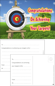 Congratulations On Achieving Your Targets Praise Postcard - Praise & Reward Postcards for Schools