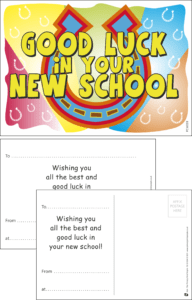 Good Luck New School Horse Shoe Praise Postcard - Praise & Reward Postcards for Schools