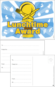 Lunchtime Award Praise Postcard - Praise & Reward Postcards for Schools