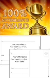 100% Attendance Award Praise Postcard - Praise & Reward Postcards for Schools