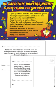 Firework Safety Praise Postcard - Praise & Reward Postcards for Schools