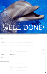 Well Done Dolphin Praise Postcard - Praise & Reward Postcards for Schools