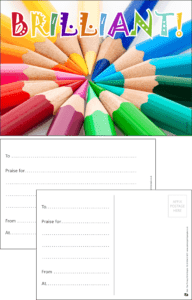 Brilliant Pencil Crayons Praise Postcard - Praise & Reward Postcards for Schools