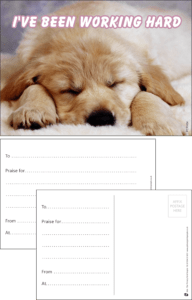 I've Been Working Hard Puppy Praise Postcard - Praise & Reward Postcards for Schools