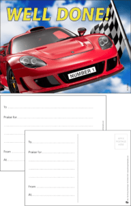 Well Done Racing Car Praise Postcard - Praise & Reward Postcards for Schools