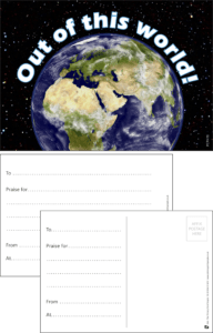Out Of This World Earth Praise Postcard - Praise & Reward Postcards for Schools