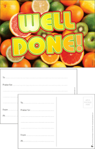 Well Done Fruit Praise Postcard - Praise & Reward Postcards for Schools