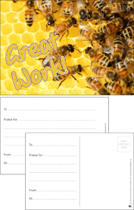 Great Work Bees Praise Postcard - Praise & Reward Postcards for Schools