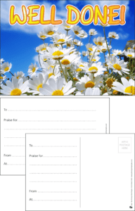 Well Done Flowers Praise Postcard - Praise & Reward Postcards for Schools