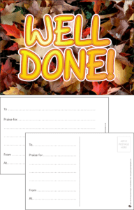 Well Done Leaves Praise Postcard - Praise & Reward Postcards for Schools