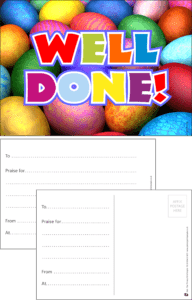 Well Done Eggs Praise Postcard - Praise & Reward Postcards for Schools