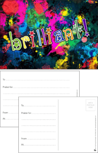 Brilliant Paint Praise Postcard - Praise & Reward Postcards for Schools