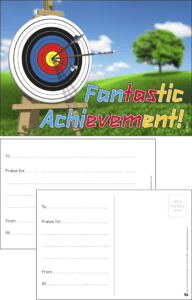 Fantastic Achievement Target Praise Postcard - Praise & Reward Postcards for Schools