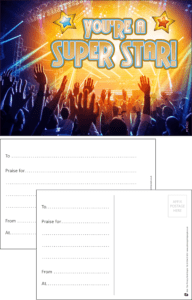 You're A Super Star Concert Praise Postcard - Praise & Reward Postcards for Schools