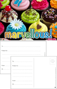 Marvellous Cup Cakes Praise Postcard - Praise & Reward Postcards for Schools