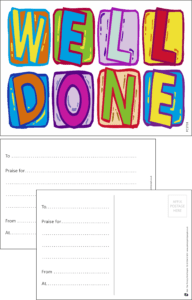 Well Done Letters Praise Postcard - Praise & Reward Postcards for Schools