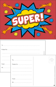 Super Hero Praise Postcard - Praise & Reward Postcards for Schools