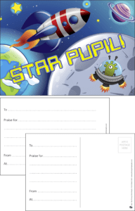 Star Pupil Rocket Praise Postcard - Praise & Reward Postcards for Schools