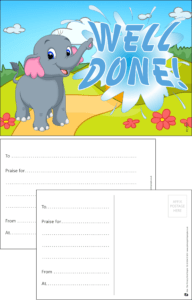 Well Done Elephant Praise Postcard - Praise & Reward Postcards for Schools