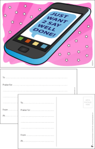 Well Done Mobile Praise Postcard - Praise & Reward Postcards for Schools