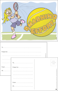 Smashing Effort Tennis Praise Postcard - Praise & Reward Postcards for Schools